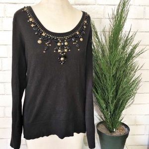 ❤️Michael Kors Beaded Thin Black Sweater Womens L